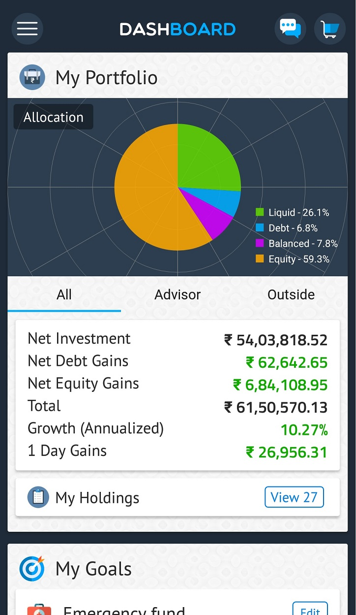 The Prudent Investor App Dashboard